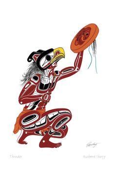 Thunder by Richard Shorty kp Haida Kunst, Inuit Kunst, Haida Art, Inuit Art, Native American Totem, Native American Images, American Indian Art, Arte Tribal, Tribal Art