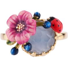 Les Néréides ORIENTAL ROSE PINK FLOWER AND LADYBIRD AND BLUE STONE... ($119) ❤ liked on Polyvore featuring jewelry, rings, fuchsia, jewelry rings, pink stone rings, bee ring, pink rose ring, pink flower ring and leaf rings