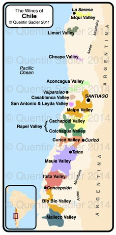 Wine blogger Quentin Sadler's Map of Chile  – non watermarked PDF versions are available by agreement.