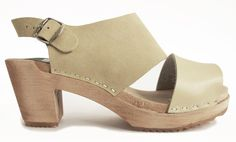 Open toe clog natural and natural suede - clogs & sandals