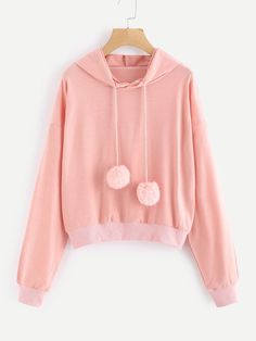 SheIn offers Pom Pom Drawstring Hooded Sweatshirt & more to fit your fashionable needs. Girls Fashion Clothes, Kids Outfits Girls, Teen Fashion Outfits, Girly Outfits, Classy Outfits, Pretty Outfits, Stylish Outfits, Beautiful Outfits, Cool Outfits