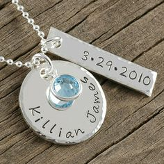 A beautiful personalized hand stamped keepsake perfect for the first time mommy!  Would also make a wonderful engagement, anniversary, or wedding gift for someone special. $67.00 http://www.wholesouljewelry.com/personalized-mommy-necklace-with-birthstone-rachel/