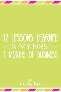 12 Lessons Learned I