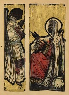 Artwork by Allan Rohan Crite, Diptych: The Annunciation, Made of Linoleum cut, hand colored with watercolor and gold leaf