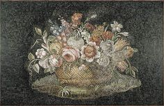 Earliest representation of mixed flowers artfully arranged in a countainer, Basket of Flowers Roman mosaic 2nd century.