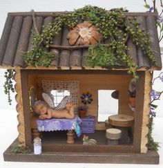 Inside View of Log Cabin Fairy House