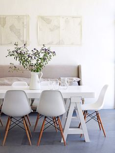 Modern Gray Upholstered Settee Bench At Dining Table / Sfgirlbybay