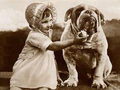 CUTE LITTLE GIRL FEEDS LARGE BULLDOG CHARMING DOG PRINT GREETINGS NOTE CARD