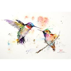 "East Urban Home 'Hummingbirds' by Dean Crouser Painting Print on Wrapped Canvas Size: 12"" H x 18"" W x 1.5"" D"