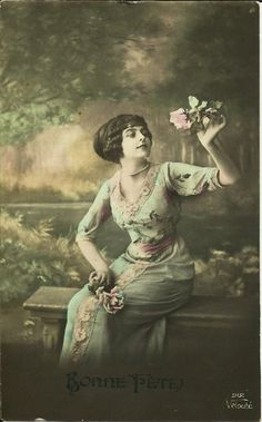 Vintage 1900s lady with roses french postcard by RetroFrenchSoul, $4.50