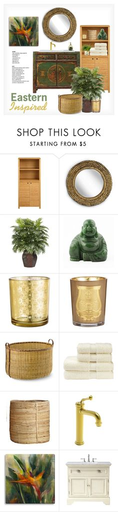 """""""powder room: eastern inspired"""" by tiffanyramone ❤ liked on Polyvore featuring interior, interiors, interior design, home, home decor, interior decorating, Regina Andrew Design, Nearly Natural, Cire Trudon and Williams-Sonoma"""