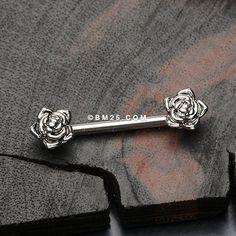 A Pair of Dainty Vintage Rose Nipple Barbell Cute Jewelry, Body Jewelry, Jewlery, Jewelry Accessories, Piercing Ring, Piercing Ideas, Ear Piercings, Nipple Rings, Belly Rings
