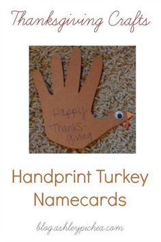 """One of our family """"traditions"""" is to have place cards at each at setting for the Thanksgiving dinner. Since Jenny has been able to write we've """"volunteered"""" to provide the place cards for these family meals. Handprint Turkey Place Cards We used the handprints that we'd traced earlier this month for our Thankfulness Tree to...Read More »"""