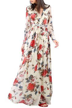 Summer Boho Women Long Maxi Dresses Chiffon Floral Printed V Neck Dress  Long Sleeve Lace Up Beach Dress Bohemain Party Dresses f791bc0728db