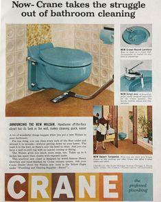 Crane Walsan Toilet 1958 Ad via Kitchen Fixtures, Plumbing Fixtures, Bathroom Fixtures, Laundry Tubs, Cast Iron Tub, Heating And Plumbing, 1950s Decor, Mcm Furniture, Vintage Bathrooms