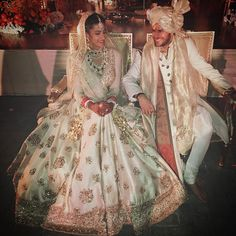 Bride in Sabyasachi, groom in Raghavendra Rathore (Desi Bridal Shaadi Indian Pakistani Wedding Mehndi Walima Lehenga / Indian Bridal Fashion, Indian Bridal Wear, Asian Bridal, Indian Wedding Outfits, Bridal Outfits, Wedding Attire, Indian Outfits, Bridal Dresses, Indian Weddings
