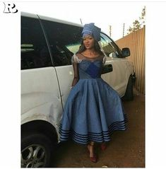Top shweshwe gowns for The tall and short girl - Reny styles Setswana Traditional Dresses, South African Traditional Dresses, African Dresses For Women, African Attire, African Fashion Dresses, African Wear, African Print Dress Designs, African Print Dresses, Shweshwe Dresses