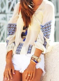 cream & cobalt tunic + white denim cutoffs