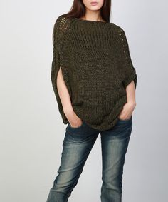 A perfect oversize sweater for coming fall/ winter! Must have for your wardrobe!  It is made of 100% eco cotton yarn in olive green color shade. Soft, warm and stylish, no itchy at all!  It is features on: 1. oversize at top part with drop shoulder style 2.unique design pattern details on shouler and side seam. 3. rolled edge at neckline and hemline.  This sweater has other colors: Olive, burgundy, black and charcoal. Size: S(us 0-4) M(us 6-8) L(us 10-12). Measurement: SIze M: width (sid...