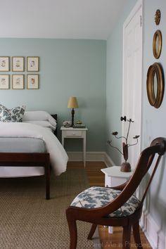 """guest bedroom by Meet Me in Philadelphia blog, painted in """"Palladian Blue"""" by Benjamin Moore"""