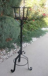 outdoor plant stands | ... Rustic-Iron-Metal-Garden-Flower-Plant-Planter-Pot-Scroll-Stand-Outdoor
