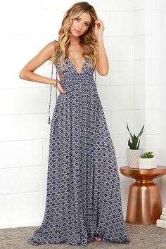 The Field Day Navy Blue Print Maxi Dress from Lulus.com is perfect for a summer weekend look.