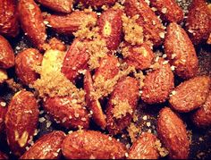 Spiced Nuts- Just melt a tablespoon of butter in a saucepan, add 1 cup of roasted almonds,  a pinch of cayenne pepper and garlic powder, 1/2  tbsp kosher salt and 1/2  tbsp brown sugar. Heat on medium, while constantly stirring, until the almonds and coated and the skin is beginning to get crisp (about 3 minutes). Serve once they have cooled.