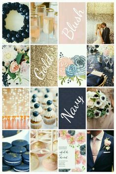 Navy blush gold wedding palette with blueberry, watercolors and lights