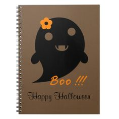 Cute Halloween Ghost Spiral Notebook - flowers floral flower design unique style