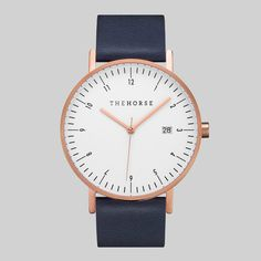 D-Series Rose Gold & Navy Leather Strap Watch (£150) ❤ liked on Polyvore featuring jewelry, watches, polish jewelry, swiss quartz watches, rose gold wrist watch, bezel watches and pink gold watches