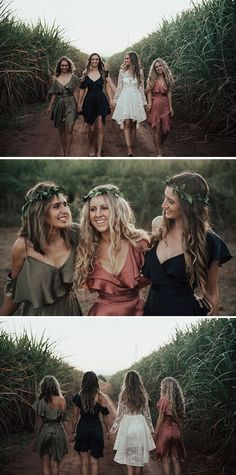 Boho bridesmaids in olive green, rose pink and navy silk cocktail dresses with leaf flower crowns