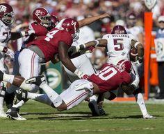 Alabama linebacker Reuben Foster (10) stops Texas A&M running back Trayveon Williams (5) during the first half of Alabama's SEC football game with Texas A&M, Saturday, Oct. 22, 2016, at Bryant-Denny Stadium in Tuscaloosa, Ala.  Vasha Hunt/vhunt@al.com