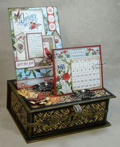 Learn how to make this infinity desk calendar with a great tutorial from Annette! She uses Time to Flourish for this beauty #graphic45 #tutorials