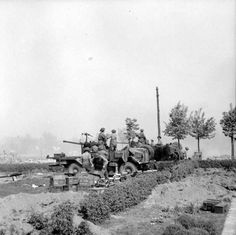 Lorry-mounted 40mm Bofors anti-aircraft guns in action against German positions in Bremen, 26 April 1945. BU 4428 Part of WAR OFFICE SECOND WORLD WAR OFFICIAL COLLECTION No 5 Army Film & Photographic Unit Crocker (Sgt)