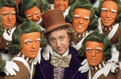 Willy Wonka and the Chocolate Factory 01/01//11 12.25 Gene Wilder as Willy Wonka surrounded by the Oompa Loompas
