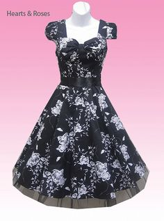 Black White Floral Dress 50s Swing Dress