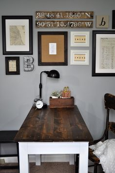 Rustic Home Office With DIY Shiplap Wall And Beautiful Hickory