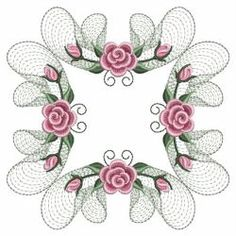 Pearl Roses Quilt 5(Lg) machine embroidery designs