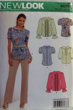 New Look 6078 Misses' Blouse with Front Trim and Sleeve Variations