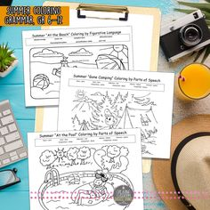 End of Year Summer Grammar & Figurative Language Activity, Coloring for Teens Free teaching resources for summer Figurative Language Activity, Beach Color, Free Teaching Resources, Parts Of Speech, English Language Arts, End Of Year, Language Activities, Summer School, Summer Colors