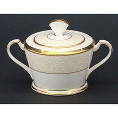 Noritake White Palace 11.5 oz. Sugar Bowl with Cover