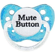 Embroidered Mute Button Pacifier Applique by PatchesStampsnMore, $4.29