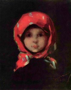 """This little girl (""""Kleines Mädchen"""" -The little girl in the red kerchief) is from the nineteenth century. She lives in this painting by Nicolae Grigorescu Classic Paintings, Portraits, Western Art, Face Art, Potpourri, Art History, Painting & Drawing, Watercolor Art, Art Drawings"""