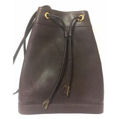 b7ab425e2f For Sale on - Vintage Valentino Garavani dark brown leather hobo bucket  shoulder bag with embossed V logo. Introducing another great conditioned  vintage