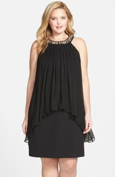 Vince Camuto Beaded Neck Trapeze Overlay Sheath Dress (Plus Size) available at #Nordstrom