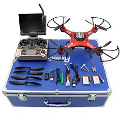 Drone with HD Camera, Potensic Drone RC Quadcopter RTF Altitude Hold UFO with Newest Hover Camera& FPV LCD Screen Monitor & Drone Carrying Case (Red) ** Visit the image link more details. (This is an affiliate link) Cheap Drones With Camera, Drone With Hd Camera, Video Camera, Quad Drone, Remote Control Drone, Drone Technology, Drone Quadcopter, Rc Drone, Hold On