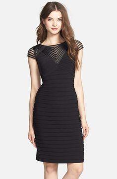 Love the Adrianna Papell Corded Yoke Pleat Jersey Sheath Dress (Regular & Petite) on Wantering.