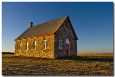 Old stone church at day's end - Saskatchewan, Canada