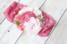 Cottage of Roses - pinks and cream rosette ruffle and chiffon bloom with lace headband
