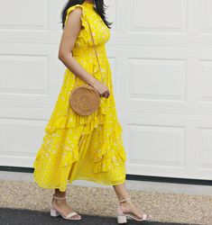 Spring / Summer Outfit Ideas, Yellow Dresses For Spring, Yellow Dresses For Summer, Yellow Midi Dress, Yellow Dress With Ruffles, eShakti Yellow Floral Dress, Rattan Crossbody Circle Bag